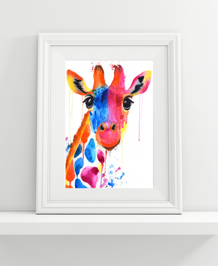 Watercolor Giraffe Framed