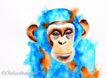 Chimpanzee Watercolor Paiting