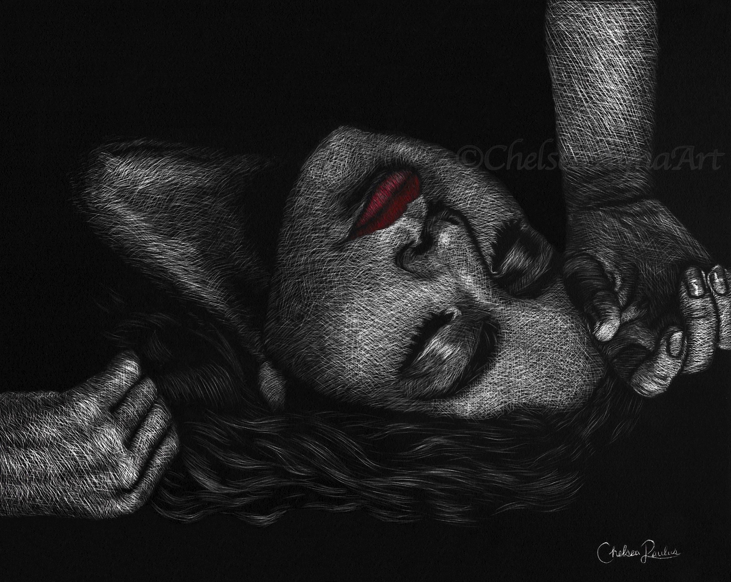 Woman Scratchboard Art
